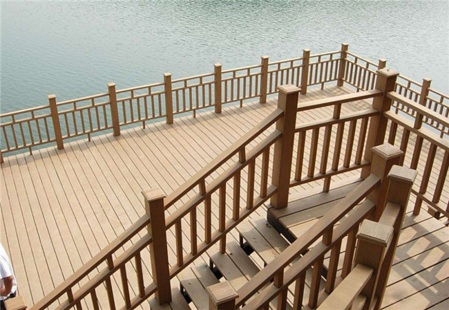 120mm Size Wood Plastic Composite Railing With Brushed Sanded Wood Grain Surface