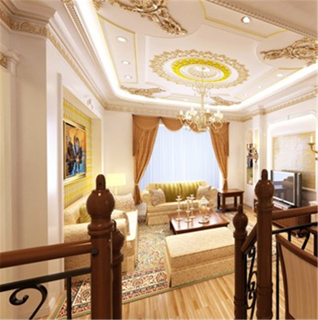 Aeneous Color Polyurethane Ceiling Medallion Round Shape For House Ceiling