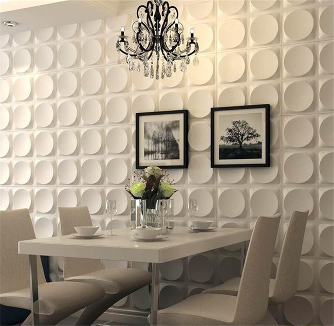 White Color 3D PVC Interior Wall Panels Home Decorative For Gypsum / Kitchen