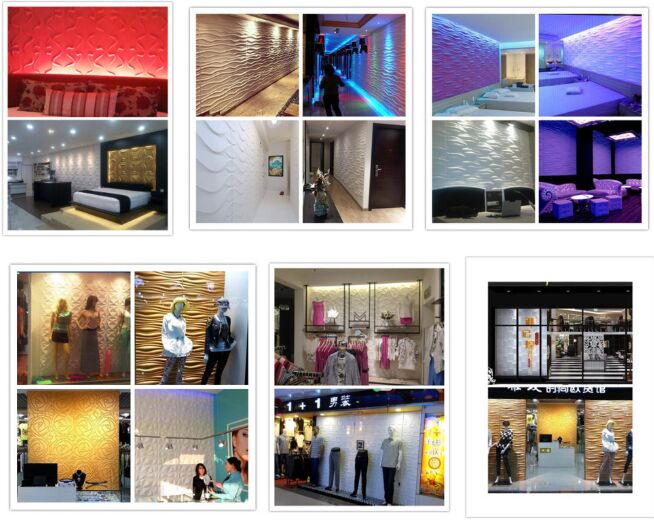 Light Weight 3D PVC Wall Panels Acrylic / Plastic Material For Interior Easy Installation