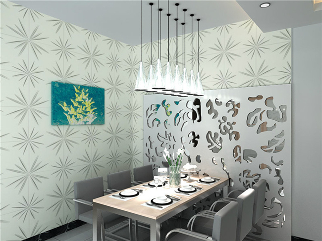 Blue Color 3D PVC Interior Wall Panels , Embossed Panel Wallpaper / Ceiling Decoration