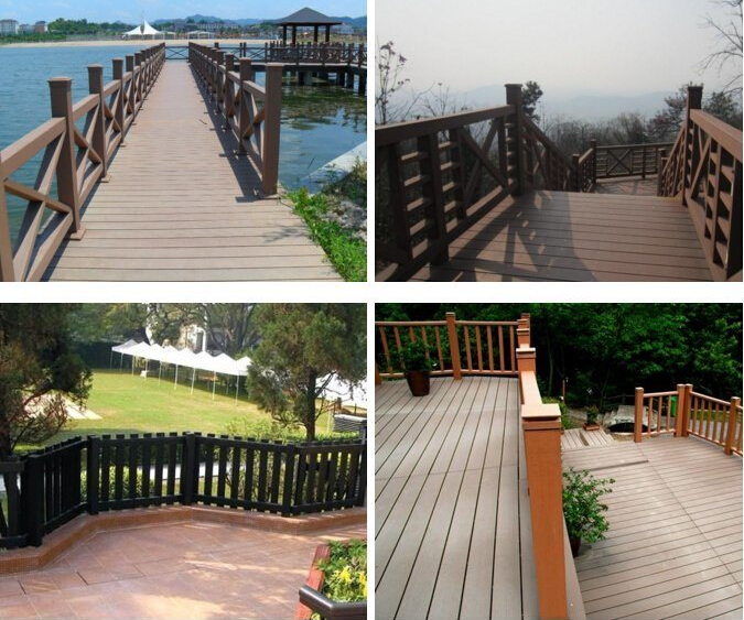 Plastic Composite Deck Railing , Outdoor Wood Grain Handrail Easy Installation