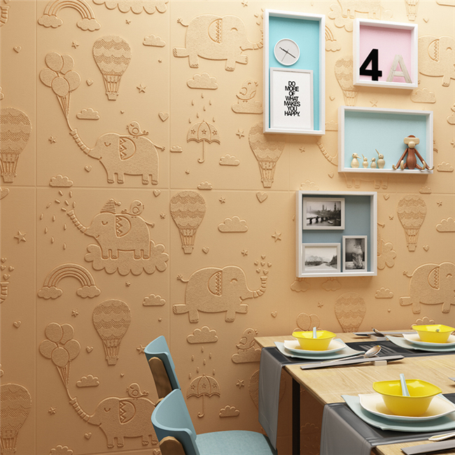 Room Decoration 3D Textured Wall Panels , Soundproof 3D XPE Foam Wall Panel