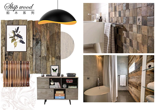 Square Brown Wood Mosaic Wall Panels , 3D Effect Wood Wall Paneling Sheets