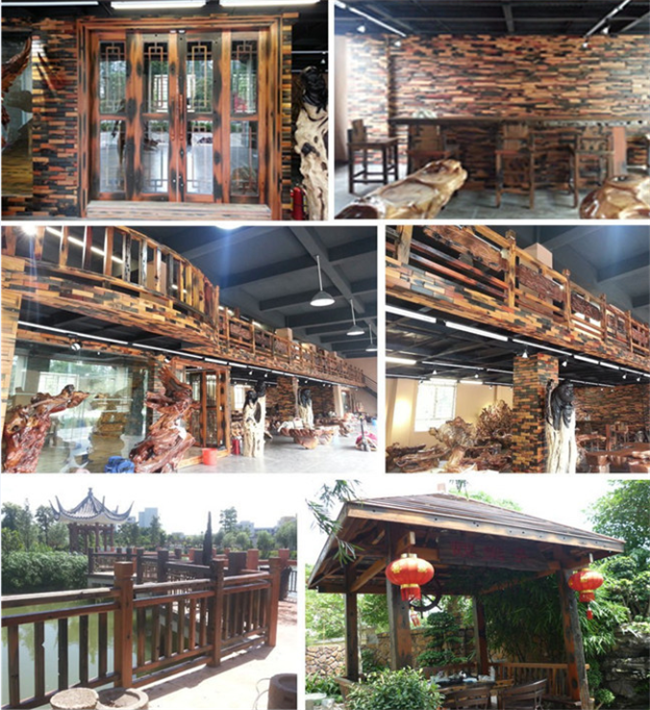 Old Ship Wood Mosaic Wall Panels , Mixed Color Wood Mosaic Tile For Shop