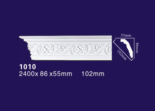 Matt Pu / Polyurethane Crown Molding White Color For Interior Decoration
