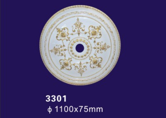 Hand Painted Color Polyurethane Ceiling Medallion With Gold Color
